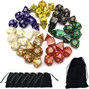 SmartDealsPro 7 x 7-Die Series 7 Colors Symphony Dice for RPG MTG Table Games Dice with Free Pouches