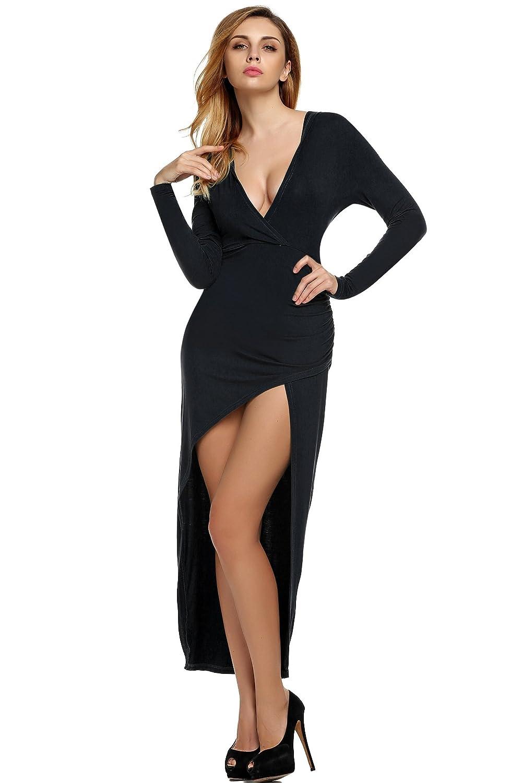 CRAVOG Damen Sexy lange Kleider Sommerkleid Strandkleid Partykleid Abendkleid