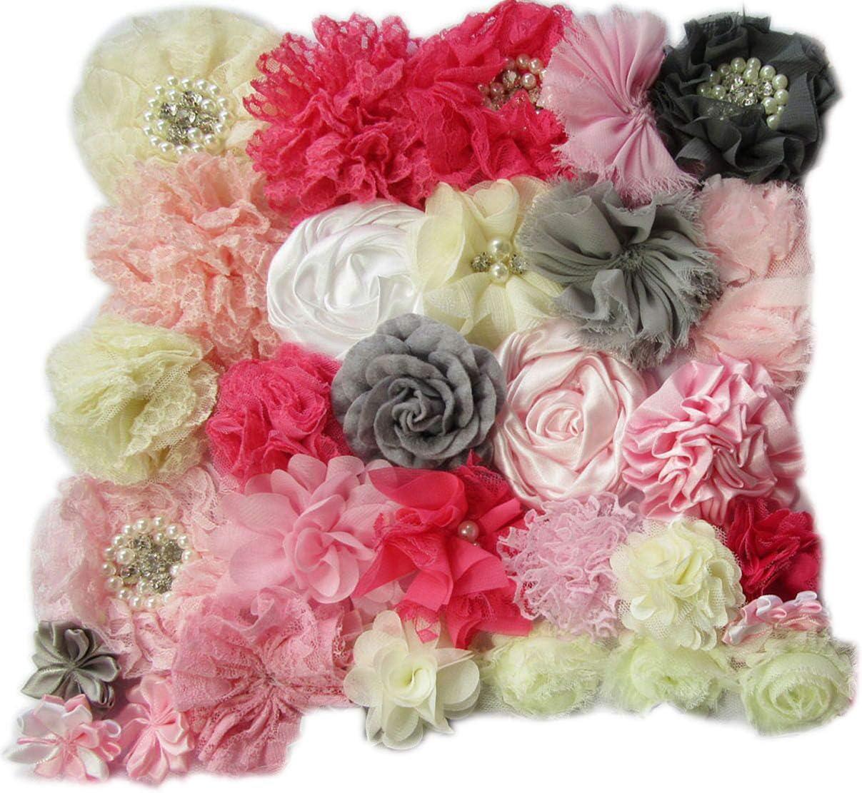 Shabby Lace Mesh Chiffon Craft Fabric Flowers For Baby Headband Hair DIY 30pcs