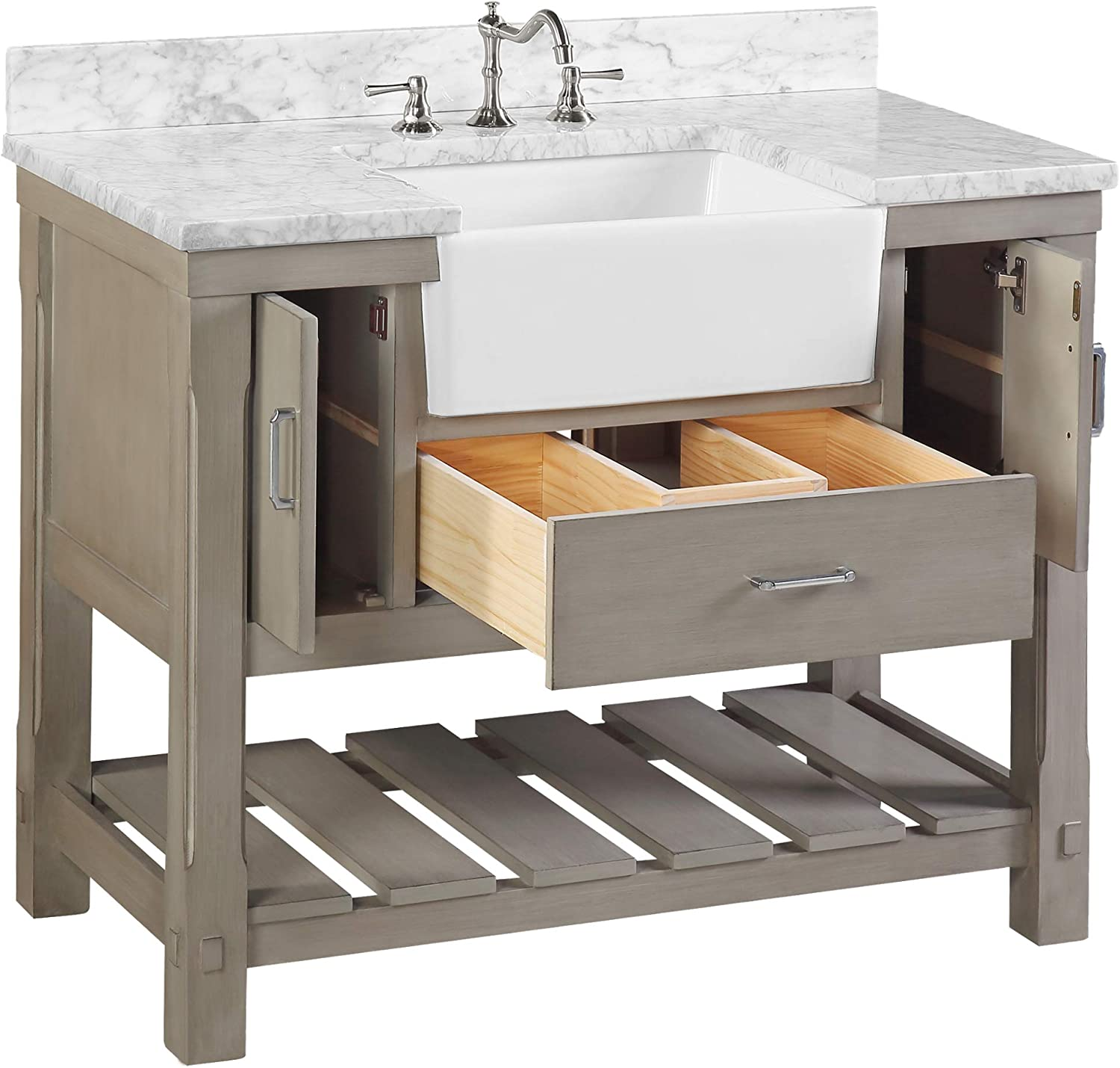 And White Ceramic Farmhouse Apron Sink Zelda 36 Inch Bathroom Vanity Includes A Carrara Marble Countertop Carrara Powder Gray Powder Gray Cabinet With Soft Close Doors Drawers