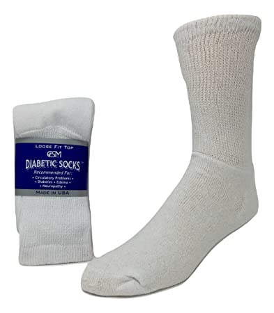 Creswell Diabetic Socks, 1 Dozen Pairs, Crew Length, Size 10-13 Large, White