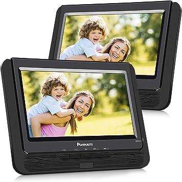 navisk Auto 9 Pulgadas Reproductor de DVD 2 monitores Reproductor de DVD portátil con Pantalla Adicional 5 Horas de autonomía reposacabezas Monitor televisor Dual de la Pantalla pd0921b: Amazon.es: Electrónica