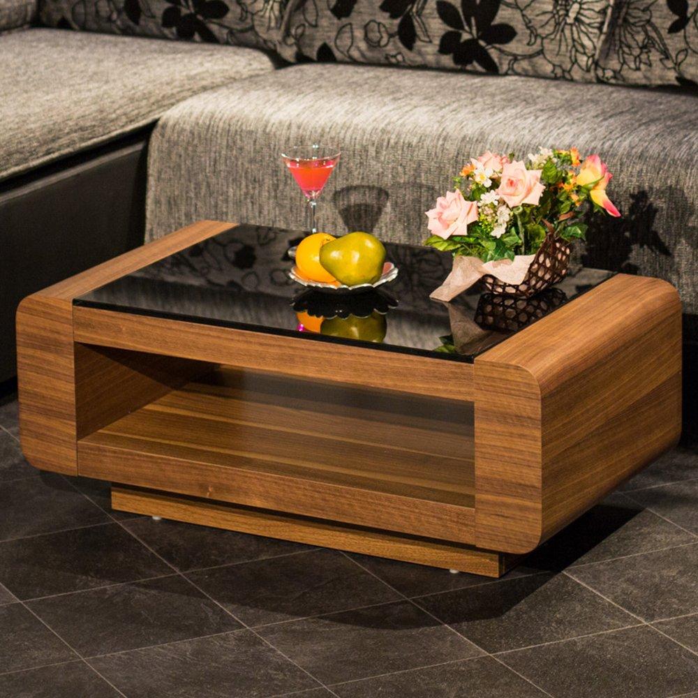 ウォルナット×ブラックガラステーブル 角のないデザインがお部屋をモダンで高級感のある空間に 80cm ブラウン(ウォルナット) B017N9FUR8