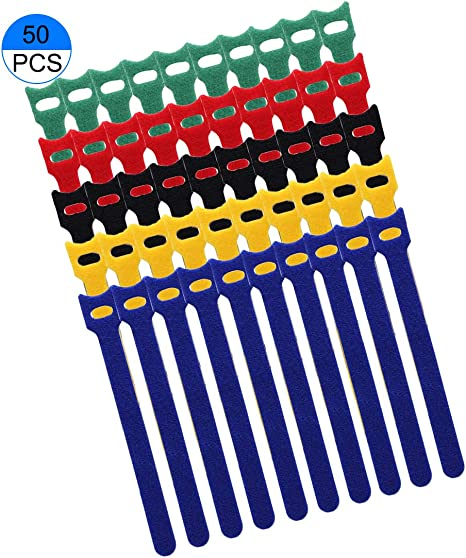 50 Pcs Reusable Hook and Loop Fastening Velcro Cable Ties with Microfiber