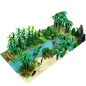 Forest Garden Building Sets Parts,Plants Trees Flowers Scenery Accessories Animals Building Bricks Toy Set Compatible with All Major Brands