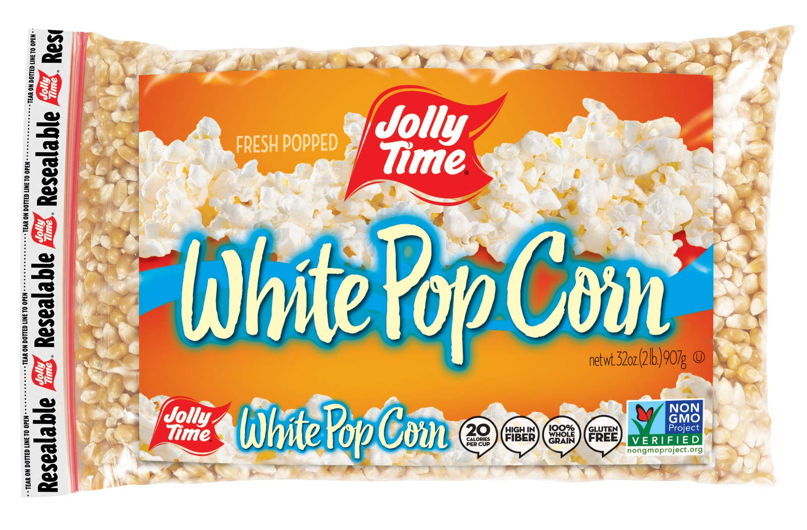 JOLLY TIME White Popcorn Kernels - Bulk Stovetop Natural Popping Corn, 2 lb. Bags (Pack of 12) by Jolly Time