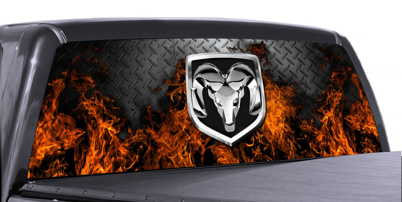 Amazoncom VuScapes DODGE RAM FIRE DPLATE Rear Window Truck - Truck back window decals