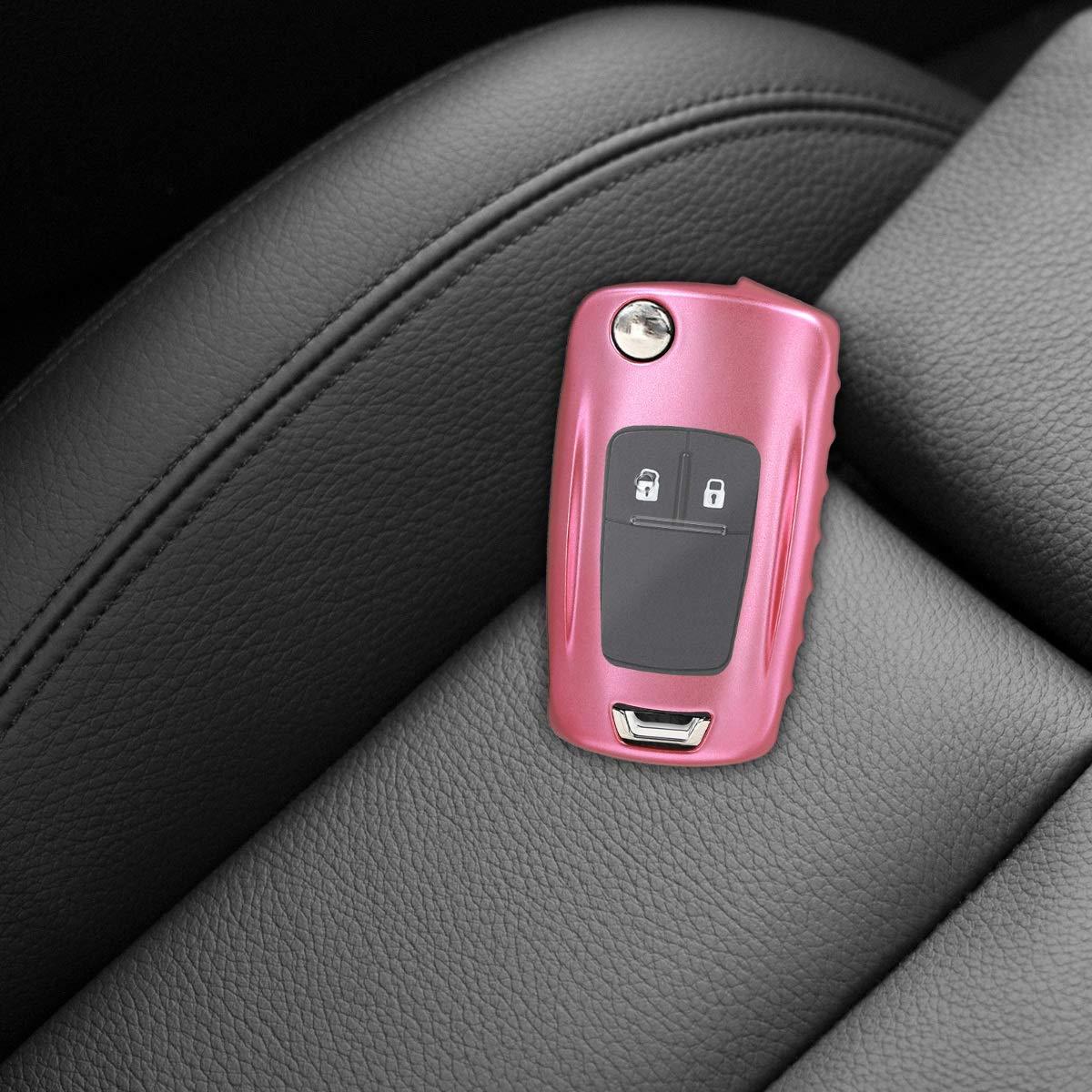 Cover de Mando y Control de Auto en TPU de para Llaves Rosa Oro Mate Suave kwmobile Funda para Llave Plegable de 2-3 Botones para Coche Opel Vauxhall Carcasa