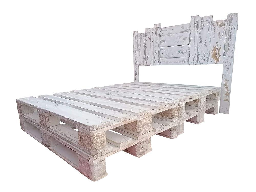 Cabecero Artesanal con patas echo con madera de palet ...