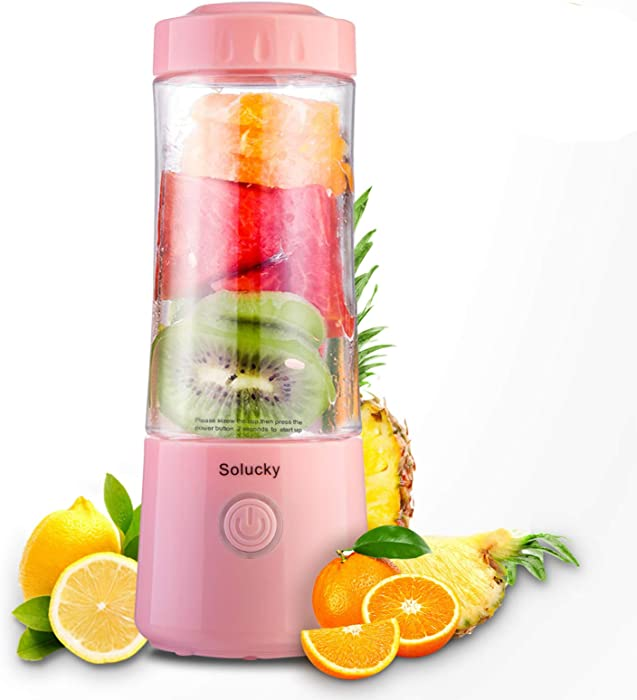 Solucky Portable Personal Size Blender,Usb Rechargeable Mixer for Smoothie,Mini Fruit Juicer, DIY Milk Shakes, 400ml, Six 3D Blades for Great Mixing(Pink)