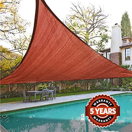 Quictent 185G HDPE Triangle Sun Shade Sail Canopy 98 UV Block Top Outdoor Cover Patio Garden Sand 18 x 18 x 18 ft, Terracotta