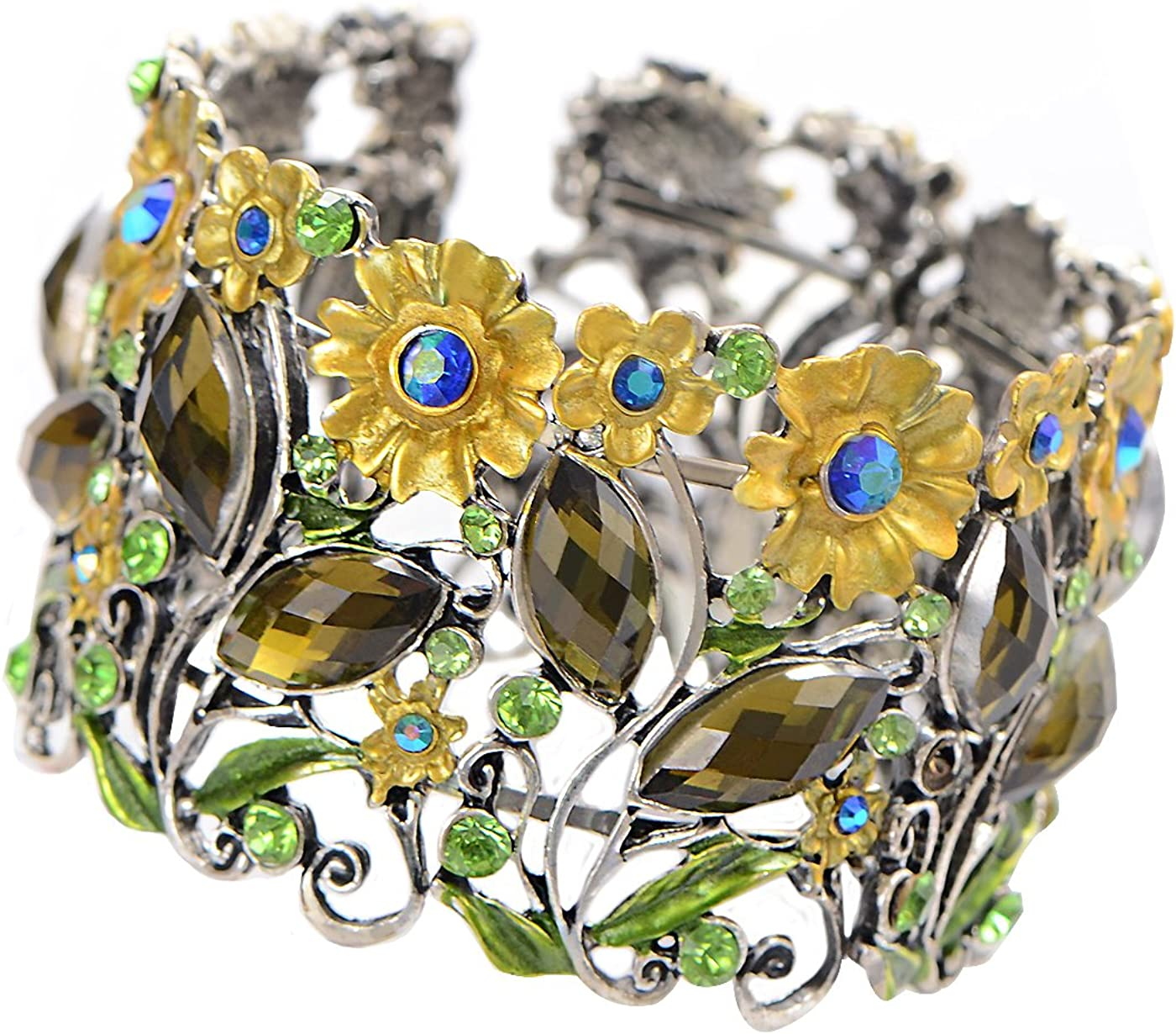Alilang Antique Hollow Filligree Floral Crystal Rhinestone Flower Garden Bracelet Bangle Cuff