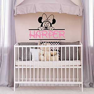 WonderWallzStore Minnie Mouse Name Wall Decal Nursery Girl - Personalized Baby Name Wall Decal Minnie Mouse Theme Decor - Girls Name Wall Decal Kids Room