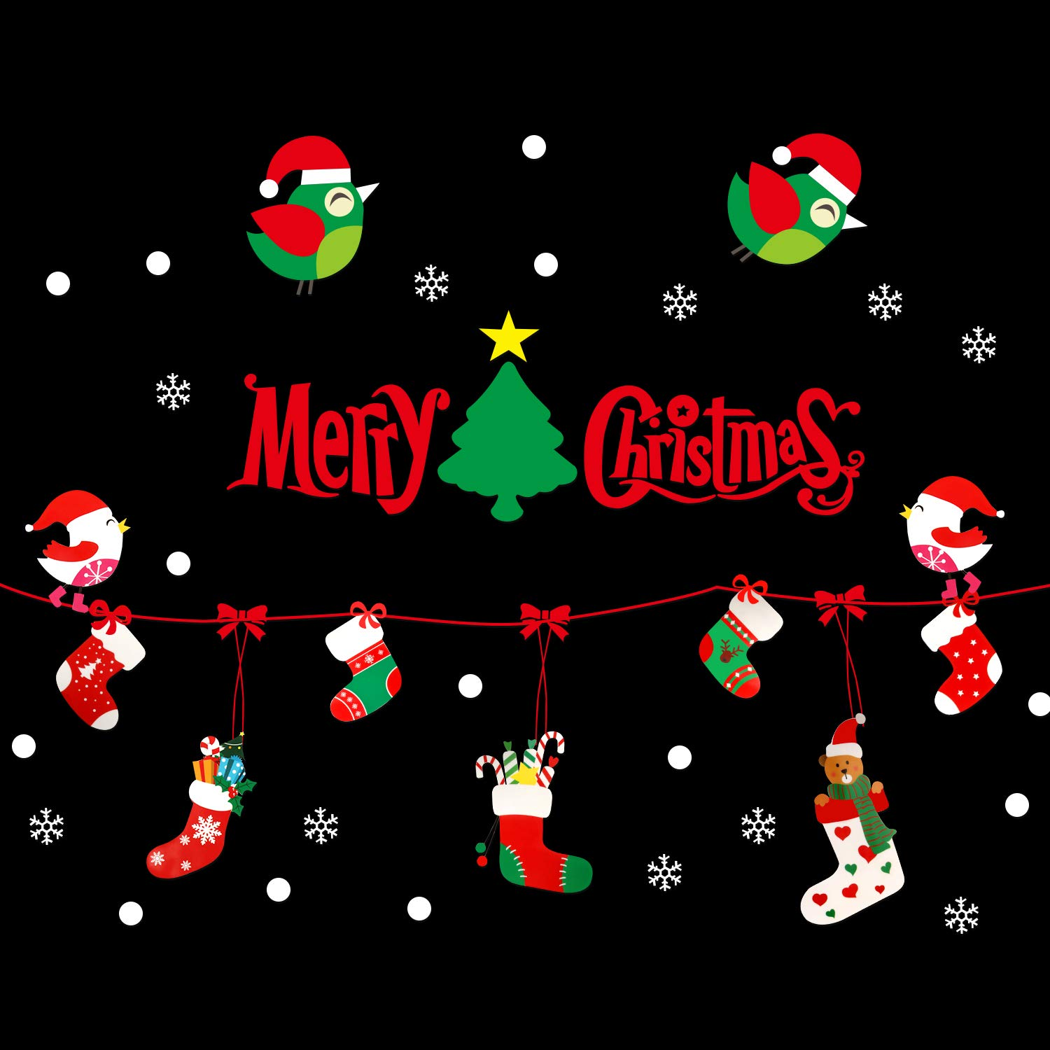 Zenoplige 2018 Newest Christmas Window Clings Decal Wall Stickers, Xmas Snowflake Glass Stickers for Christmas Decorations(L17)