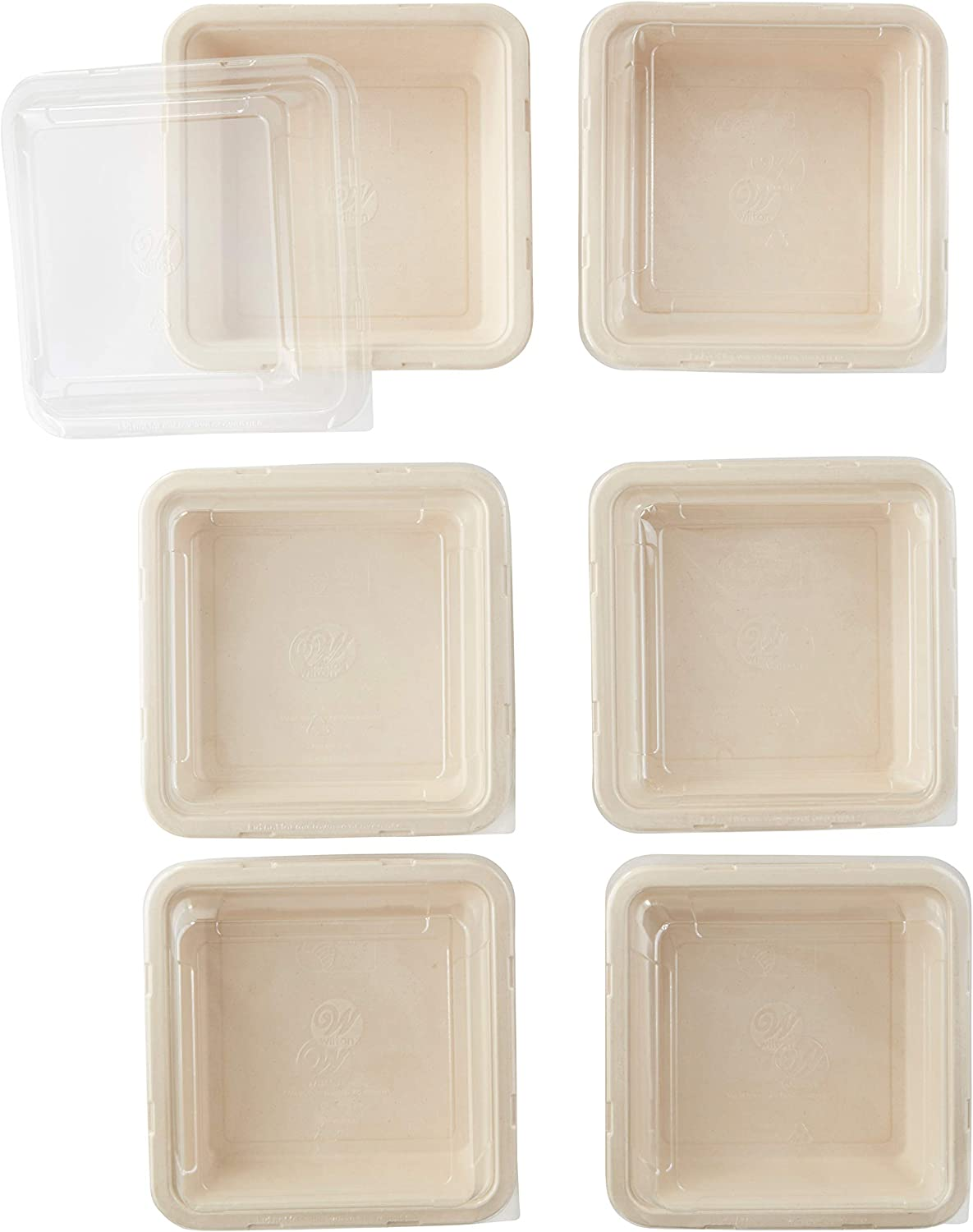 Wilton Disposable Square Baking Pans With Lids, 6-Count