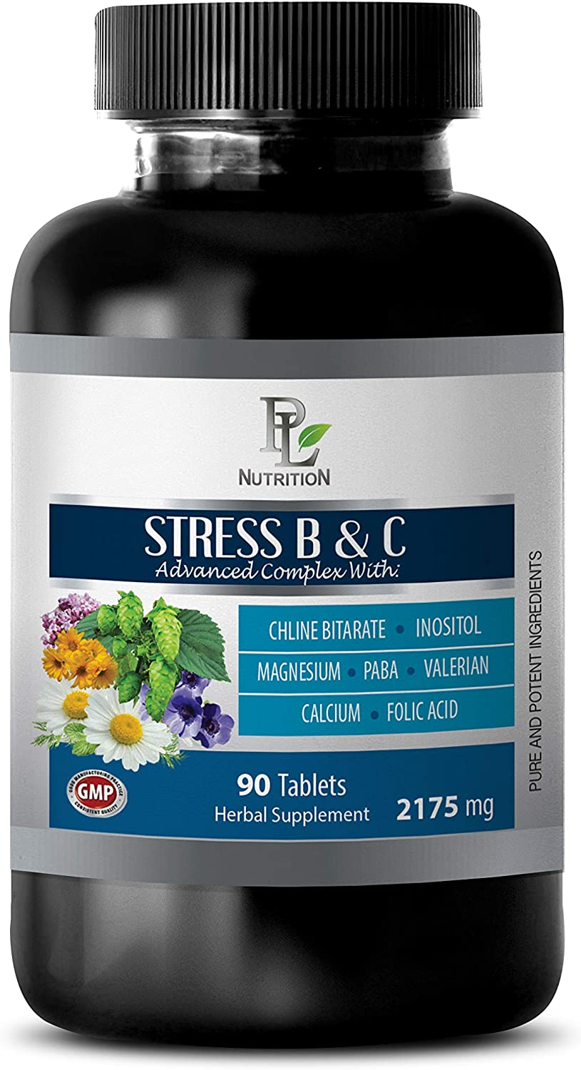 Depression Vitamins Women - Stress B & C Advanced Complex 2175 MG - Passion Flower Valerian Root - 1 Bottle 90 Coated Tables