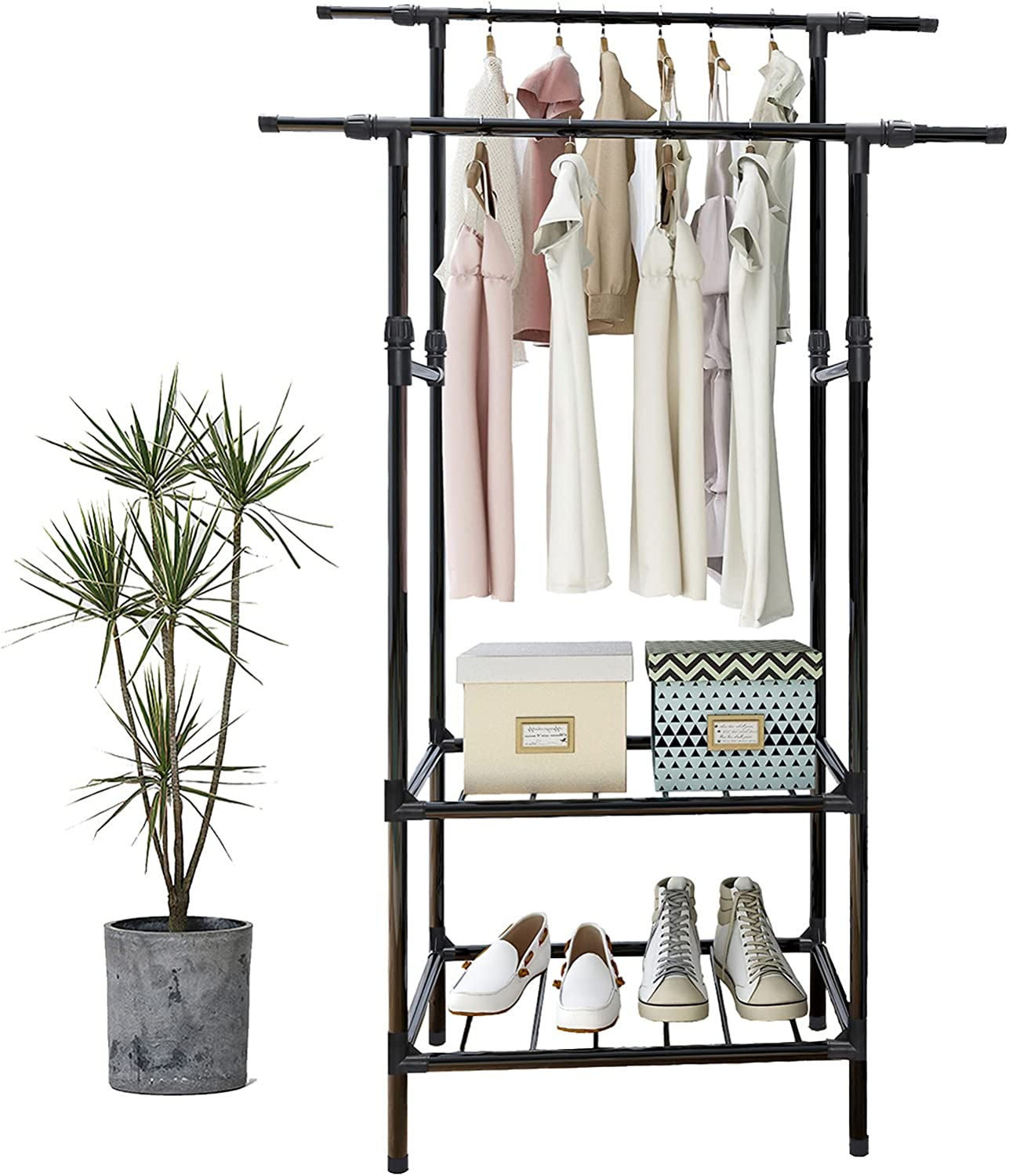 Clothing Max 72% OFF Rack Heavy Duty Freestanding High order Clothes Garmen Double Rods