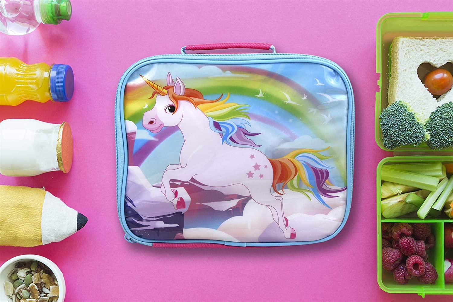 Unicorns Characters Insulated Pink Rectangular Lunch Bag for Kids 26 x 21 x 7 cm