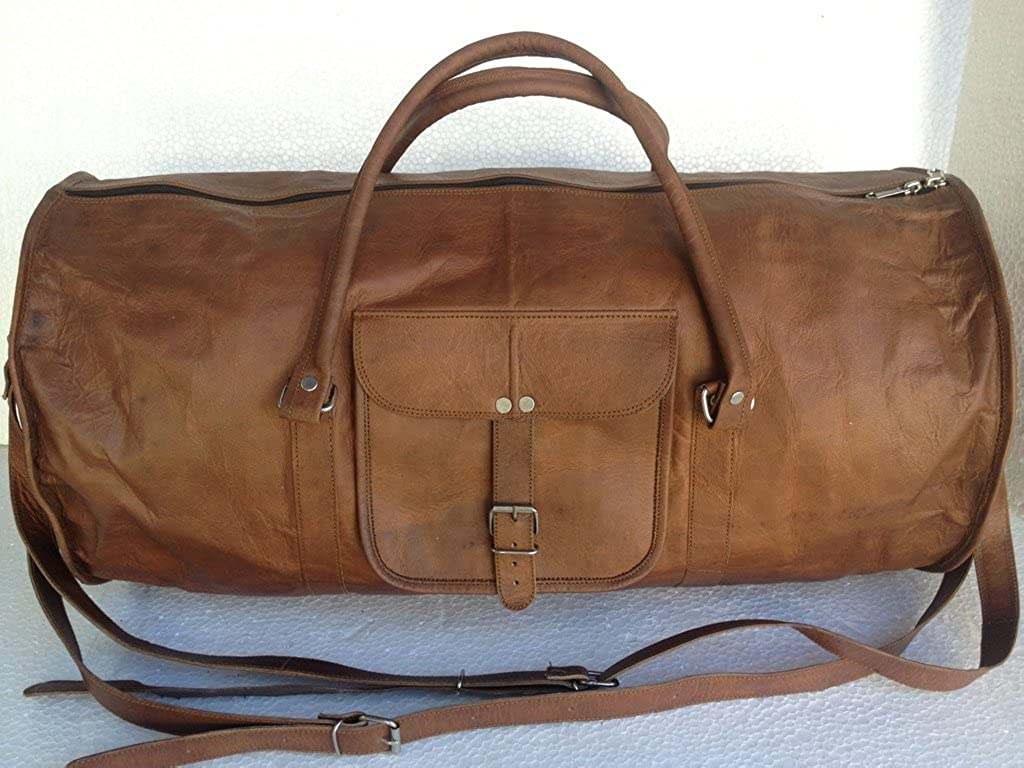 Leather 21 Inch Duffel Travel Gym overnight Weekend Leather Cabin Sports Bag