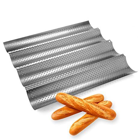 Hemore-bandeja de baguette,Antiadherente bandeja, Pan de Francés Baguette Molde para Hornear