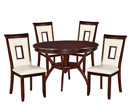 Acme Furniture 71604 Oswell 5 Piece Cream PU U0026 Cherry Dining Set