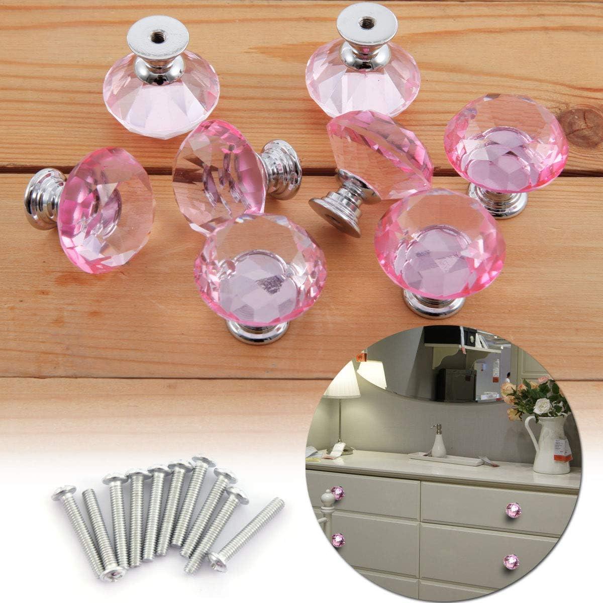 B/üro Bad- Wohn- Schlaf- Surepromise 8X Schrankkn/öpfe Schubladenkn/öpfe Kristallglas 30mm Pink Rund Zinklegierung M/öbelkn/öpfe M/öbelknopf f/ür K/üche Kinderzimmer