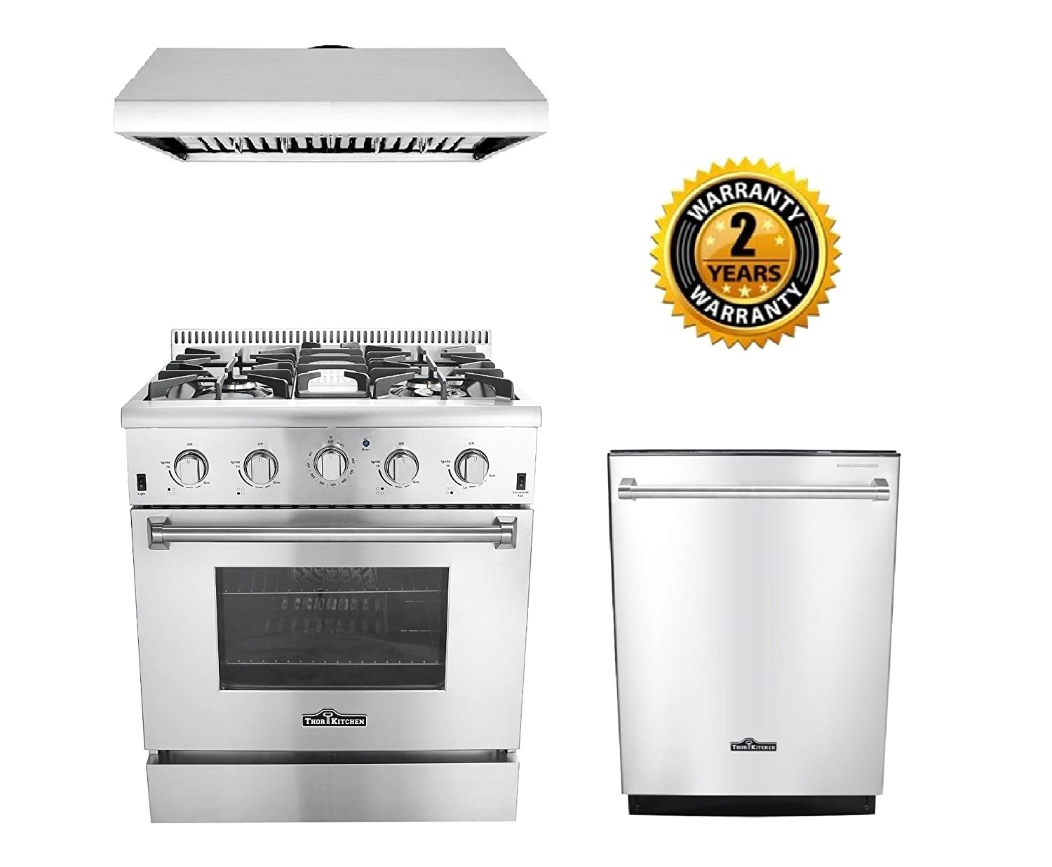"Thor Kitchen 3-Piece Kitchen Package with HRG3080U 30"" Pro Style 4 Burner Stainless Steel Gas Range, HRH3006U 30"" Under Cabinet Range Hood Stainless Steel and HDW2401SS 24"" Dishwasher Stainless Steel"