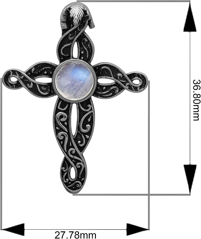crucifijo de Jesucristo para Hombres y Mujeres Shine Jewel Colgante de Plata de Ley 925 con Piedra Lunar de arco/íris Cruz Vintage