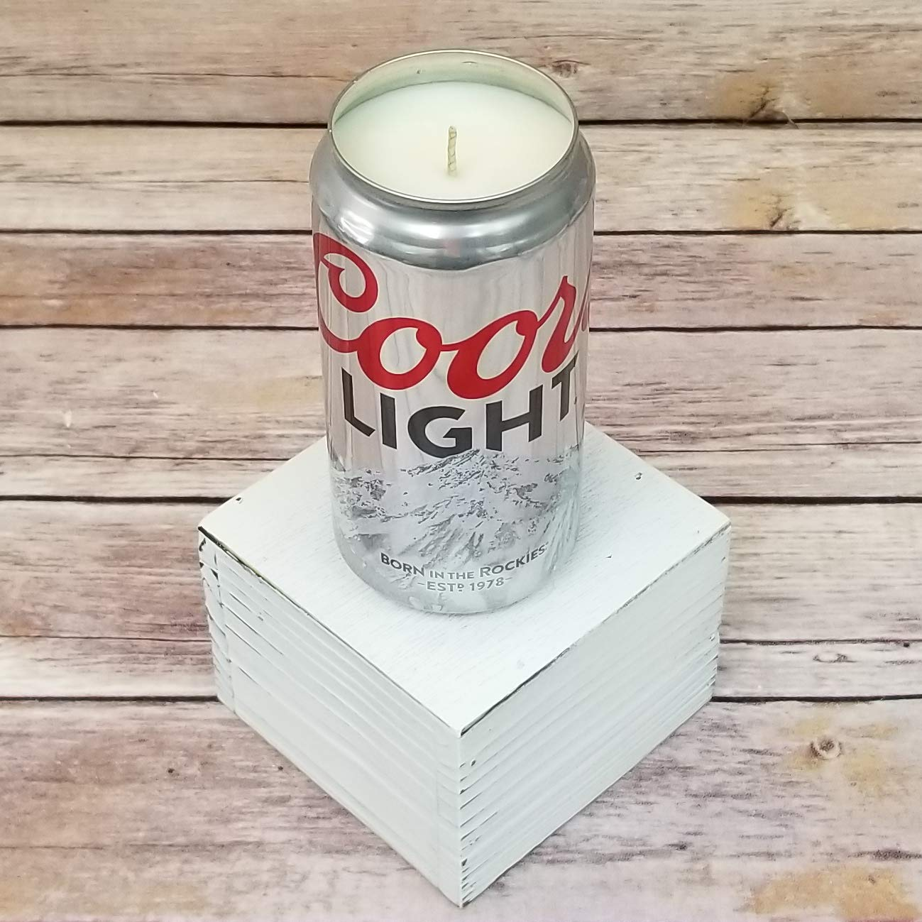 Coors Light Beer Can Soy Candle with Custom Scent in 12 oz Aluminium Can