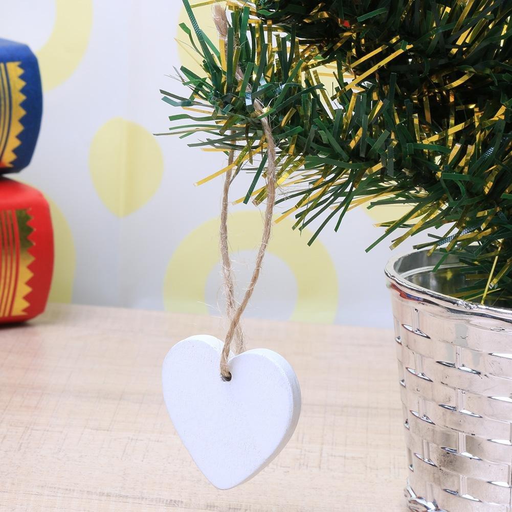 10 adornos de madera con forma de coraz/ón 40 mm para colgar en el dormitorio Demiawaking decoraci/ón del hogar blanco