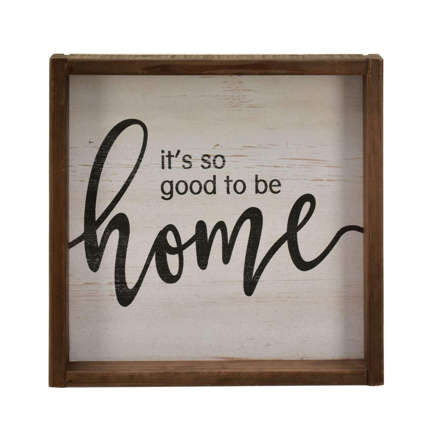 Parisloft It's So Good to Be Home Rustic Wood Signs,Wooden Framed Farmhouse Plaque, Farmhouse Real Wood Wall Hanging Decor,11.8''x11.8''