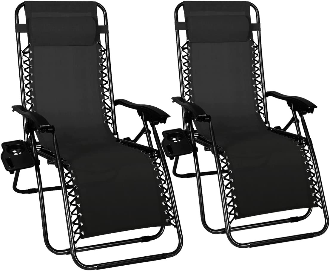 Odaof Zero Gravity Chair Recliner Outdoor Patio Lounge Chair W Cup Holder, 2 Pack, Black