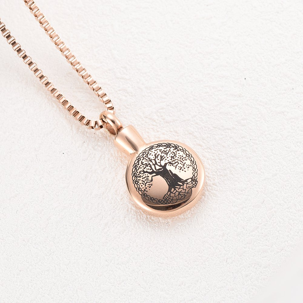 Tree of Life Cremation Keepsake Urns Stainless Steel Ashes Pendant Necklace Memorial Jewelry