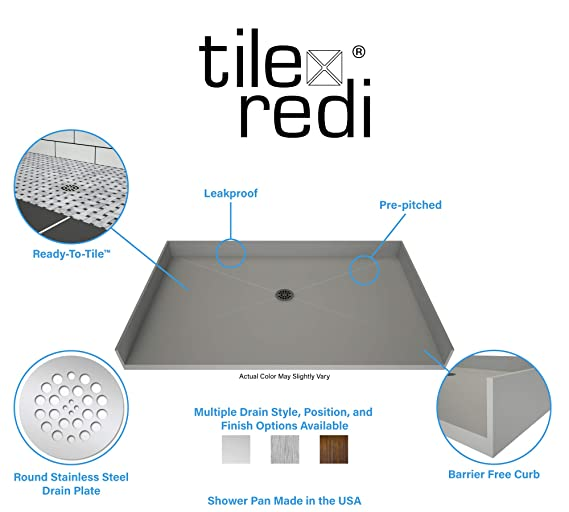Tile Redi Barrier Free Shower Pan.Tile Redi 3448cbf Pvc Barrier Free Shower Pan With Integrated Center Pvc Drain 34 Inch Depth By 48 Inch Width