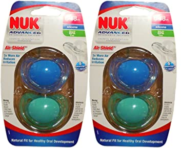 4 NUK Binky Air Shield Orthodontic Pacifier ,Boy Colors, 6-18 Months- Green & Blue
