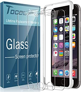 TOCOL 3 Pack Compatible with iPhone 6 Plus and iPhone 6s Plus Screen Protector Tempered Glass HD Clarity Touch Accurate 9H Hardness with Easy Installation Tray
