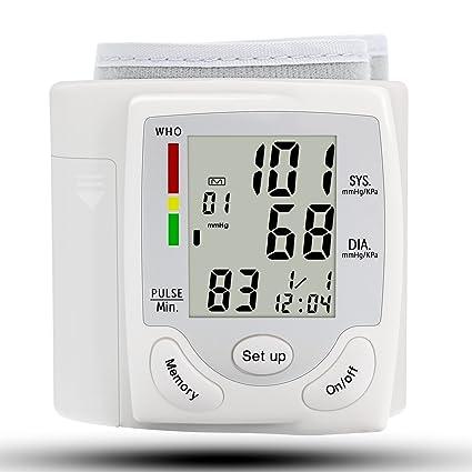 Medidor de presión arterial para muñeca con pantalla con capacidad de memoria