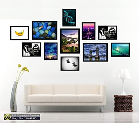 24e06c7efd2 Black 11 Piece Multi Picture Frame Photo Frame Collage Wall Hanging Frame  Table Set  Amazon.co.uk  Kitchen   Home