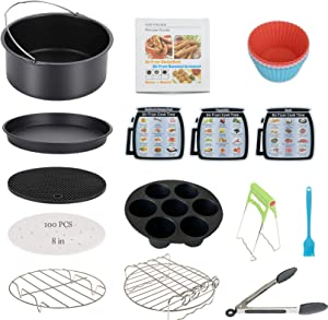 Air Fryer Accessories 13PCS for Phillips Nuwave Gowise Gourmia Ninja Dash Air Fryer xl, Fit 3.6-4.2-6.8QT Air Fryer with 8 Inch Cake Pan, Pizza Pan, Silicone Baking Cup, Skewer Rack, Parchment Paper