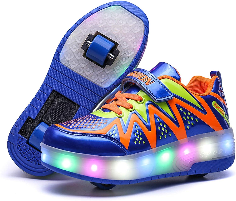 M/ädchen Junge Schuhe mit Rollen Skate LED Leuchtend Heelys Schuhe Kann durch Ultraleicht Outdoor Sportschuhe Blinkschuhe Skateboardschuhe Gymnastik Sneaker