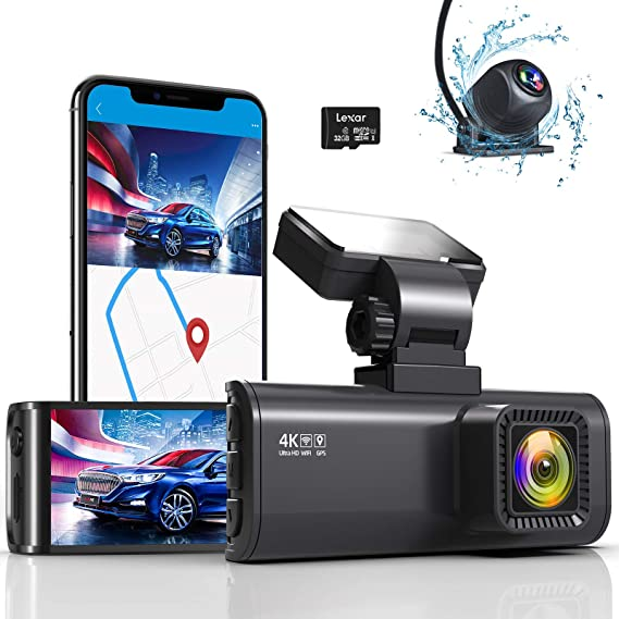 REDTIGER 4K Mini Dual Dash Cam Built-in WiFi GPS Front 4K/2.5K and Rear 1080P Dual Dash Camera for Cars,3.16