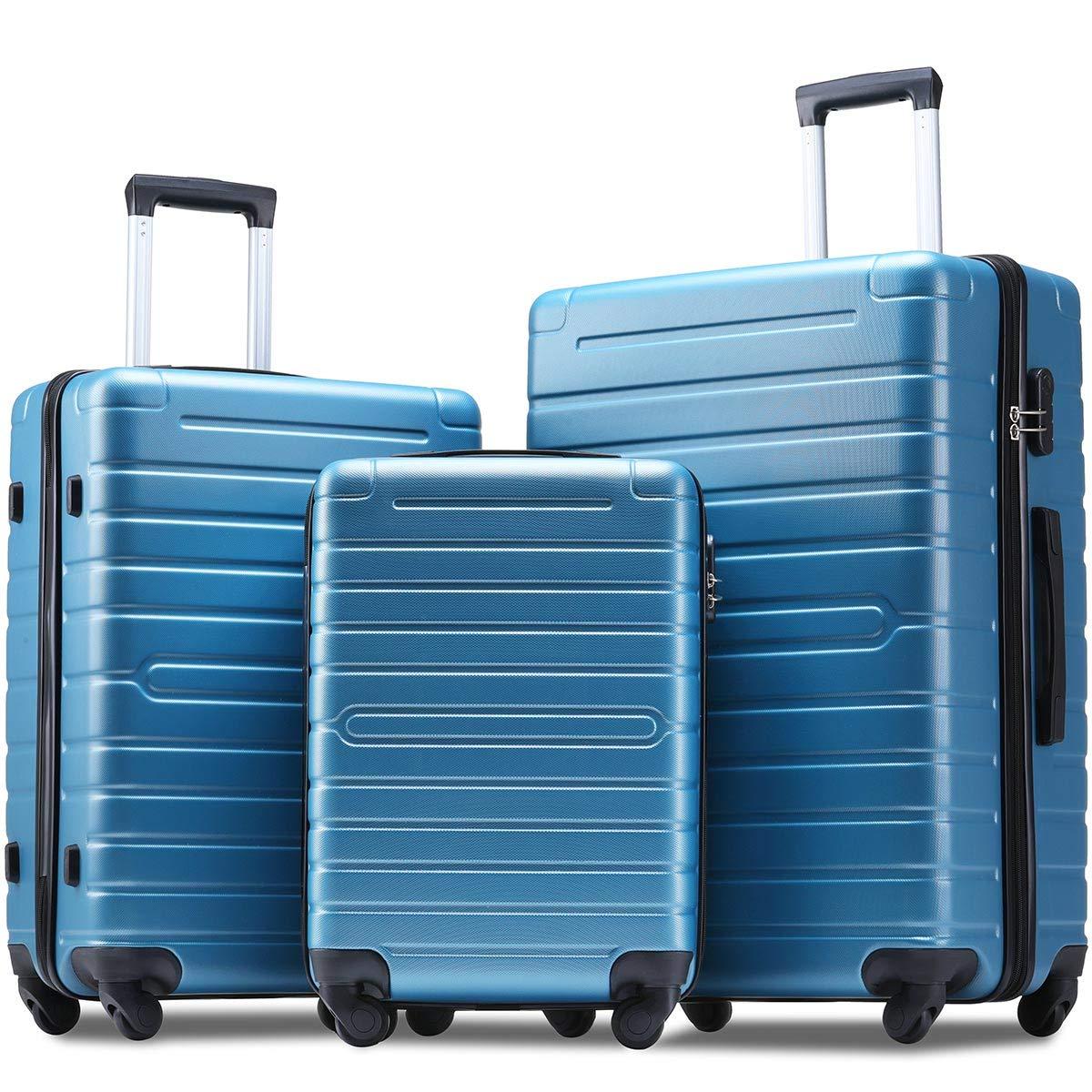 Flieks Luggage Sets 3 Piece Spinner Suitcase Lightweight 20 24 28 inch (steel blue) by Merax