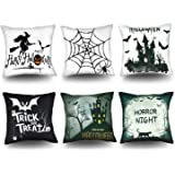 MENOLY Halloween Pillow Covers 18x18 Inch Set of 6 Throw Pillow Covers Pillow Case Halloween Home Decoration