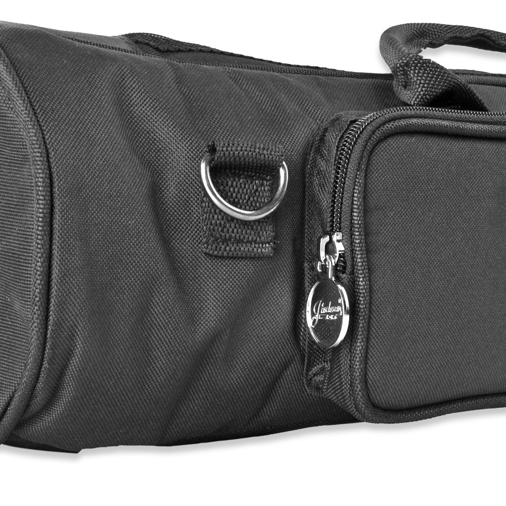 Flexzion Senior Trumpet Gig Bag Case Durable Soft Nylon Padded Portable Instrument Accessory with Double Zippers and Adjustable Shoulder Strap in Black by Flexzion (Image #5)
