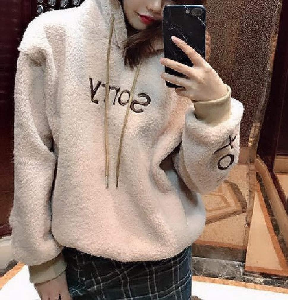 Comaba Womens Casual Loose Fluffy Outwear Warm Hoodie Sweatshirt