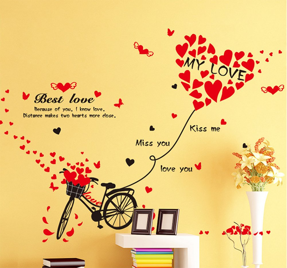 Amazon.com: Valentine\'s Day Bicycle Love Wall Decals Quotes Stickers ...