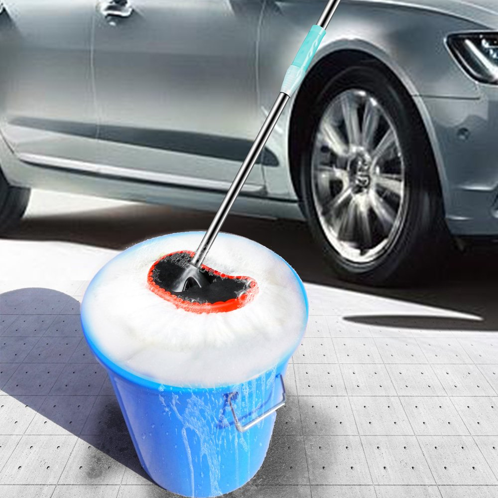Glike Wash Mop for Car with Stainless Steel Adjustable/Extension Handle & Rubber Bumper Super Soft Bristle (White) by Glike (Image #4)