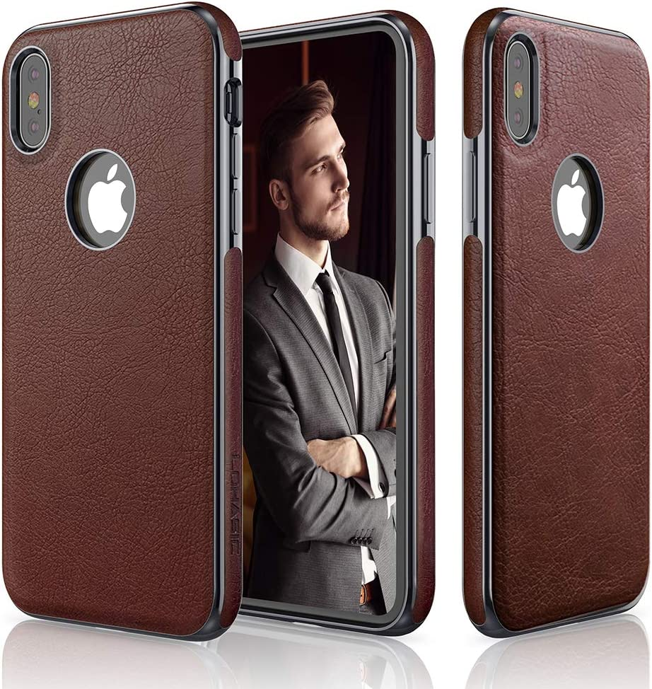 LOHASIC iPhone Xs Case, iPhone X Case Slim Thin Premium Leather Luxury PU Soft Flexible Anti-Slip Grip Scratch Resistant Protective Cover for Apple iPhone X XS New Version (2018) - Dark Brown