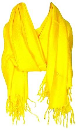 6dace13f1 BB Accessories Plain Pashmina Scarf - Yellow: Amazon.co.uk: Clothing