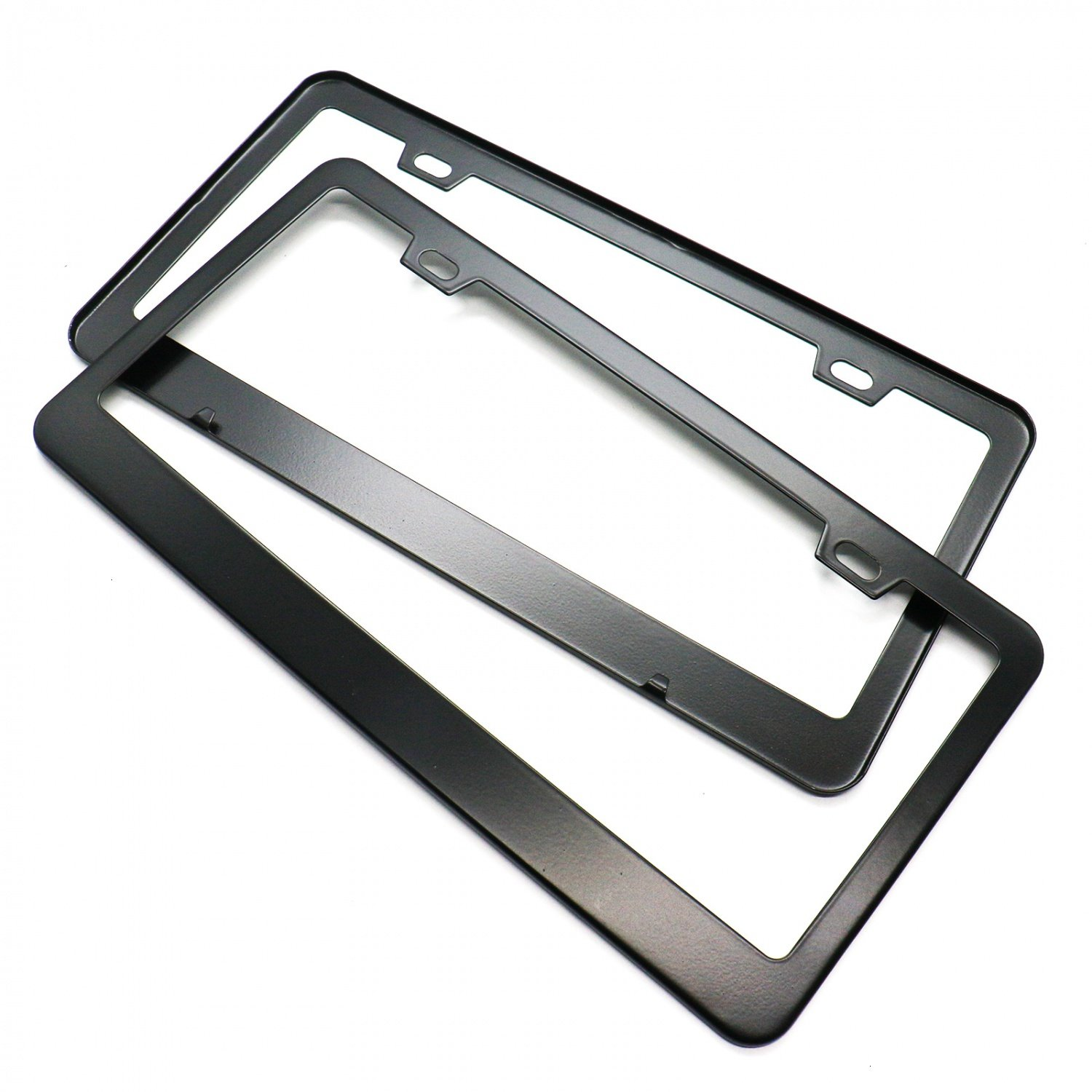 HUELE 2 Pcs Stainless Steel Car License Plate Frames Covers 2 Holes with Screw Caps Polished Black